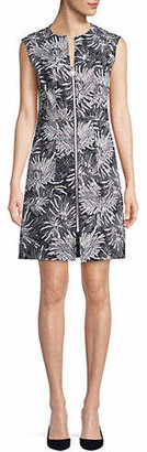 Diane von Furstenberg Floral Front Zip Sheath Dress