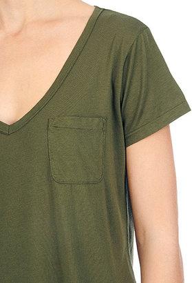 AG Jeans The S/S V-Neck Pocket Tee - Dark Olive