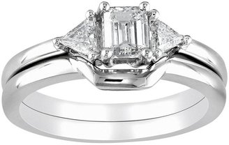 Emerald-cut igl certified diamond 3-stone engagement ring set in 14k white gold (3/4 ct. t.w.)