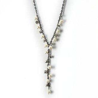 Vera Wang Simply vera jet simulated pearl & simulated crystal & bead y necklace