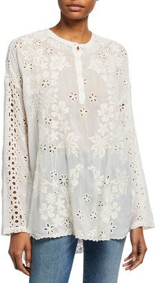 Johnny Was Sophia Eyelet Floral Embroidered Long-Sleeve Top