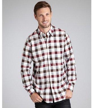 Corneliani burgundy large check cotton point collar shirt