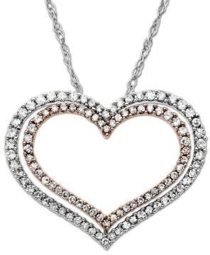 Lord & Taylor Diamond Accented Double Heart Pendant
