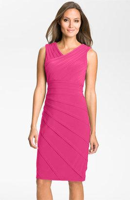 Adrianna Papell V-Neck Shutter Pleat Sheath Dress