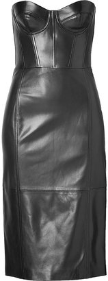 Michael Kors Leather Bustier Dress in Black
