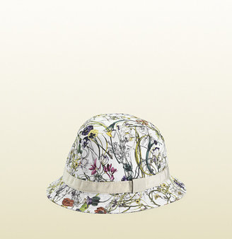 Gucci Mini Flora Infinity Fedora Hat With White Leather Trim