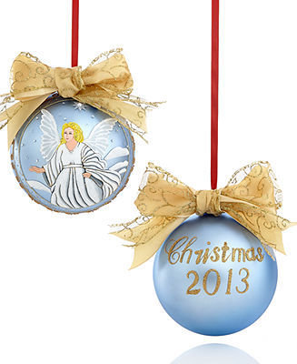 Holiday Lane Large Glass Dated Angel Christmas Ornament