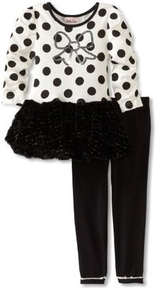 Little Lass Girls 2-6X 2 Piece Dressy Set With Dots and Bow