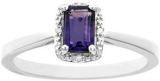 Sterling Emerald Shape Gemstone Ring w/ DiamondAccent