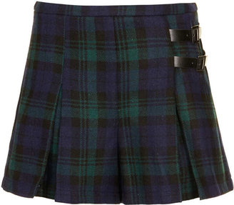 Topshop Green Check Wool Kilt Shorts