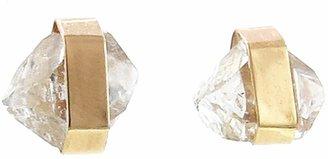 Melissa Joy Manning Herkimer Diamond Wrapped Stud Earrings - Yellow Gold