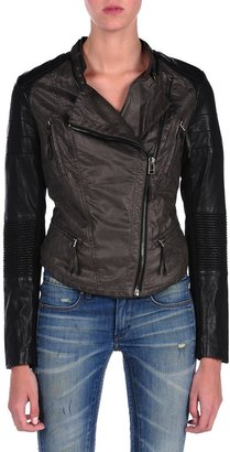 Blank NYC Vegan Leather Moto Jacket Two Tone