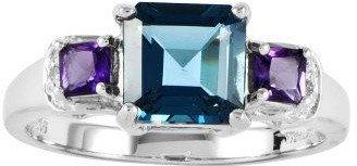 Sterling 1.90 cttw Princess-Cut Blue Topaz & Amethyst Ring