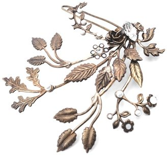 Halo & Co Delicate Comb Of Golden Leaf Branches Sprinkled With Tiny Pearls