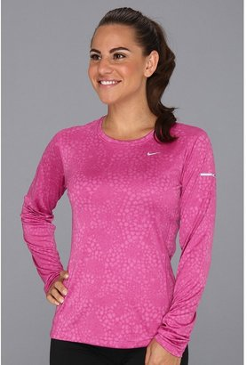 Nike Printed Miler Long-Sleeve Top (Club Pink/Reflective Silver) - Apparel