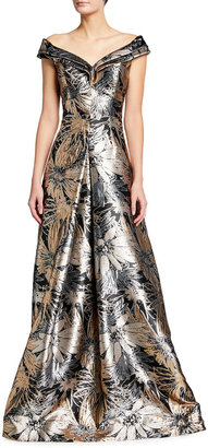 Rickie Freeman For Teri Jon Off-Shoulder Metallic Floral Jacquard Gown