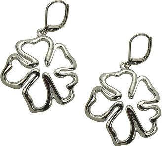 T Tahari Silver-Tone Floral Drop Earrings
