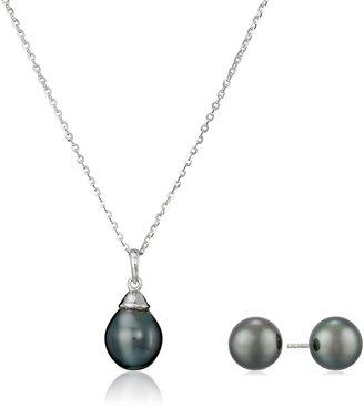 """Tara Pearls Natural Color Tahitian Pearl Stud Earrings and Pendant Set 18"""" + 2"""" Extender"""