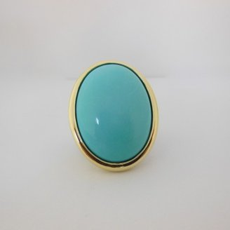 David Yurman excellent (EX Sterling Silver & 18K Gold 30x22 Large Oval Turquoise Split Shank Ring