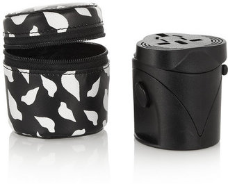 Diane von Furstenberg Faux textured-leather case and travel adapter