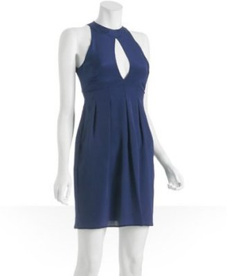 Geren Ford navy silk keyhole cocktail dress
