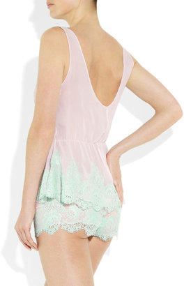 Rosamosario Caramella lace and silk-georgette camisole