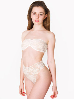 American Apparel Stretch Floral Lace Ruched Front Tube Bra