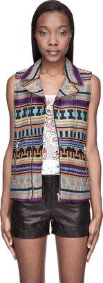 MSGM Orange & Blue Woven Iket Vest