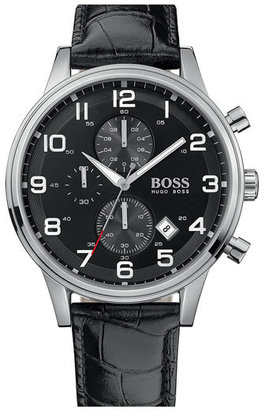 BOSS Leather Strap Chronograph Watch, 44mm