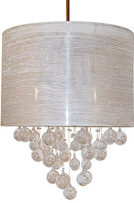 "Sharper Image Lighting, Textured Silver Shade 15"" Pendant"