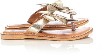 Wallis Gold Leather Flower Sandal