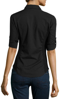 James Perse Button-Flap Pocket Button-Down Blouse