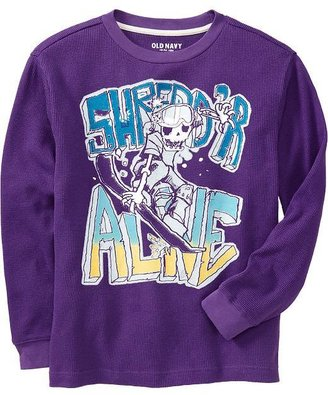 Old Navy Boys Long-Sleeved Graphic Waffle-Knit Tees
