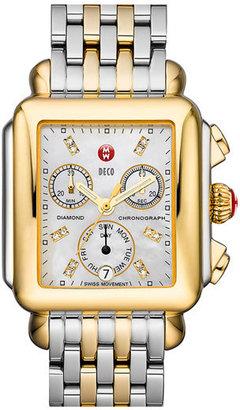 Women's Michele Deco Diamond Dial Two-Tone Watch Head, 33Mm X 35Mm $895 thestylecure.com