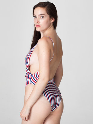 American Apparel Stripe Print High Cut One-Piece
