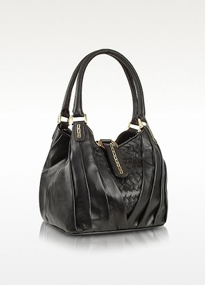 Fontanelli Black Woven Genuine Handbag