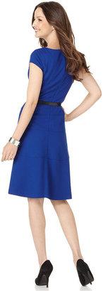 Anne Klein Dress, Cap Sleeve Belted Textured A-Line