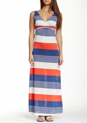 Papillon Striped V-Neck Maxi Dress