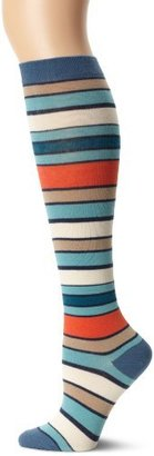 PACT Women's Denim Farm Stripe Knee Sock