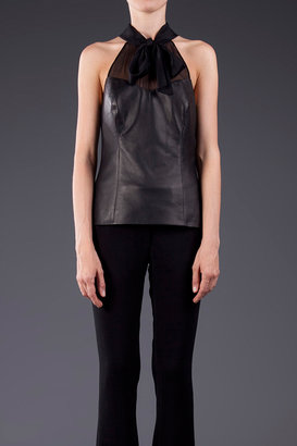 Jason Wu Silk and Leather Bow Halter Top