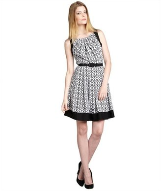 Eva Franco black and white mosaic print 'Betty' belted day dress