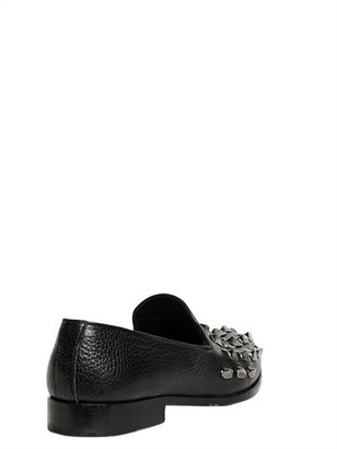 Roberto Cavalli Studded Grained Leather Loafers