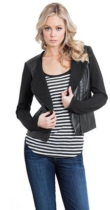 GUESS Clean Knit-Back Faux-Leather Jacket