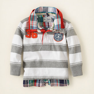Children's Place Faux-layered striped rugby
