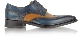 Forzieri Two-Tone Handcrafted Leather Wingtip Oxford Shoes