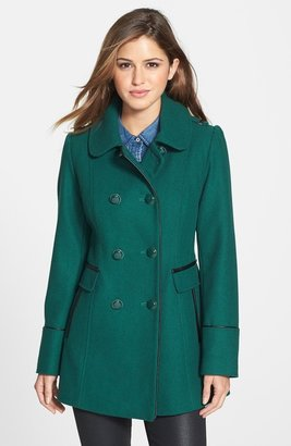 Kensie Double Breasted Wool Blend Coat with Faux Leather Trim