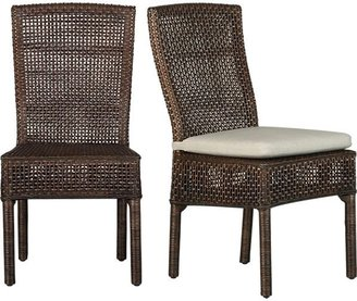 """Crate & Barrel Cabria Honey Brown Woven Side Chair. 17.5""""H seat;"""