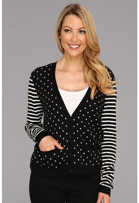 Vince Camuto TWO by Dot Stripe Cardigan (Rich Black) - Apparel