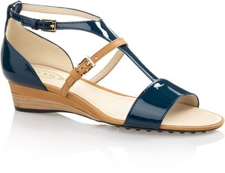 Tod's T-Strap Leather Wedge Sandals