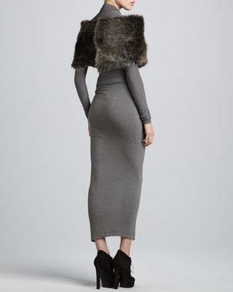 Donna Karan Draped Plunging-Neck Midi Dress, Pewter